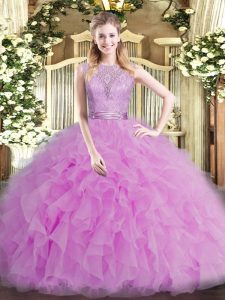Customized Scoop Sleeveless Tulle Quinceanera Dress Beading and Ruffles Backless