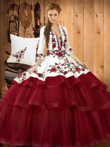 Low Price Wine Red Sleeveless Sweep Train Embroidery Quinceanera Gowns