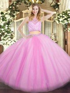 Enchanting High-neck Sleeveless Tulle 15 Quinceanera Dress Beading and Ruffles Zipper