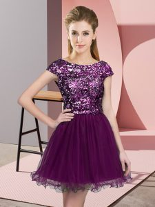 Customized Cap Sleeves Mini Length Sequins Zipper Quinceanera Court Dresses with Purple