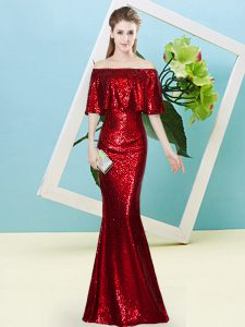 New Style Wine Red Off The Shoulder Zipper Sequins Prom Gown Half Sleeves