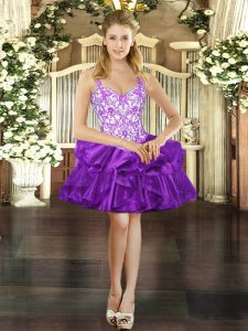 Elegant Purple Ball Gowns Beading and Ruffles Lace Up Organza Sleeveless Mini Length