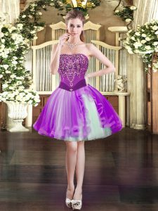 Lovely Strapless Sleeveless Lace Up Homecoming Dress Purple Tulle