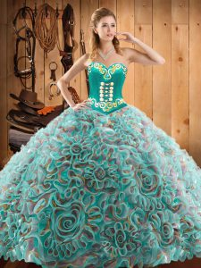 Lovely Multi-color Lace Up Sweetheart Embroidery Quinceanera Gown Satin and Fabric With Rolling Flowers Sleeveless Sweep Train