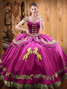 Trendy Fuchsia Sleeveless Floor Length Beading and Embroidery Lace Up Sweet 16 Dresses