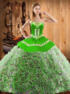 With Train Lace Up Quinceanera Dresses Multi-color for Military Ball and Sweet 16 and Quinceanera with Embroidery Sweep Train