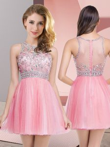 Elegant Scoop Sleeveless Zipper Evening Dress Rose Pink Tulle