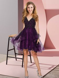 Modern V-neck Sleeveless Backless Bridesmaid Gown Purple Tulle