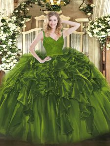 Graceful Beading and Lace and Ruffles Quinceanera Gown Olive Green Backless Sleeveless Floor Length