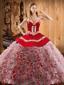 Free and Easy Sweetheart Sleeveless Ball Gown Prom Dress With Train Sweep Train Embroidery Multi-color Satin and Fabric With Rolling Flowers