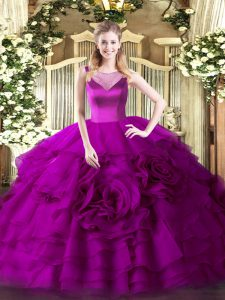 Organza Scoop Sleeveless Side Zipper Beading and Ruffled Layers Sweet 16 Dress in Fuchsia