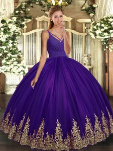 Purple Ball Gowns Tulle V-neck Sleeveless Appliques Floor Length Backless Ball Gown Prom Dress