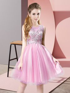 Extravagant Knee Length A-line Sleeveless Rose Pink Homecoming Dress Zipper