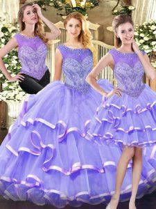 Wonderful Scoop Sleeveless Organza 15th Birthday Dress Beading and Ruffled Layers Zipper
