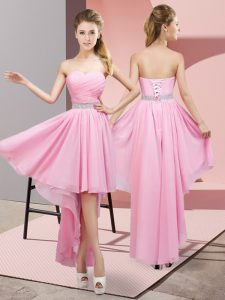 A-line Bridesmaid Dress Pink Sweetheart Chiffon Sleeveless High Low Lace Up