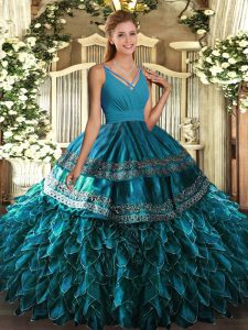 Sleeveless Satin and Organza Floor Length Backless 15th Birthday Dress in Blue with Ruffles
