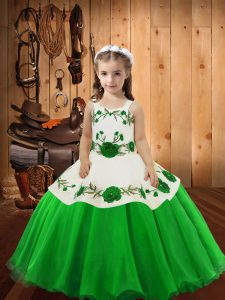 Fancy Straps Sleeveless Little Girls Pageant Dress Floor Length Embroidery Organza