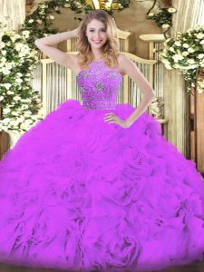 Sleeveless Zipper Floor Length Beading and Ruffles Quinceanera Dresses
