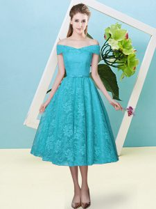 Teal Off The Shoulder Lace Up Bowknot Bridesmaids Dress Cap Sleeves