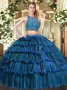 Two Pieces Sweet 16 Dresses Teal High-neck Tulle Sleeveless Floor Length Zipper