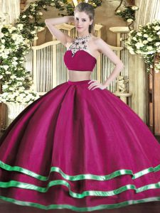 Fuchsia Two Pieces Beading 15 Quinceanera Dress Backless Tulle Sleeveless Floor Length