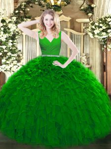 On Sale Green Zipper V-neck Beading and Ruffles Quinceanera Dress Tulle Sleeveless
