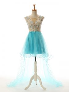 Decent A-line Homecoming Dress Aqua Blue Scoop Tulle Sleeveless High Low Backless