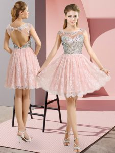 Wonderful Scoop Cap Sleeves Dress for Prom Mini Length Beading Baby Pink Lace