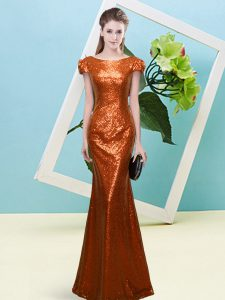 Cap Sleeves Sequins Zipper Evening Dress