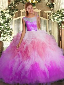 Glamorous Scoop Sleeveless Sweet 16 Dress Floor Length Lace and Ruffles Multi-color Organza