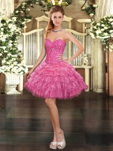 Fashionable Watermelon Red Ball Gowns Sweetheart Sleeveless Organza Mini Length Lace Up Beading and Ruffled Layers and Pick Ups Prom Dresses