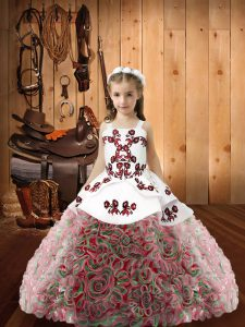Lovely Multi-color Straps Neckline Embroidery Girls Pageant Dresses Sleeveless Zipper
