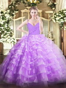 Lavender Organza Zipper Spaghetti Straps Sleeveless Floor Length Quinceanera Gown Ruffled Layers