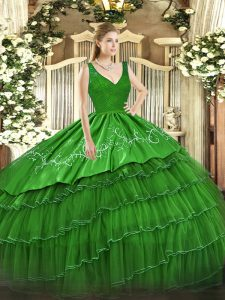 Stylish Green Organza and Taffeta Backless Quinceanera Dress Sleeveless Floor Length Beading and Lace and Embroidery and Ruffled Layers