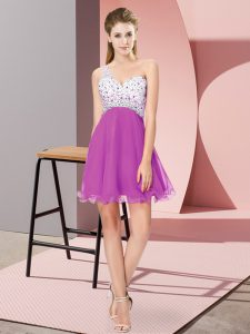 Mini Length Criss Cross Prom Dress Fuchsia for Prom and Party with Beading