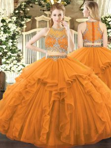 Floor Length Orange 15 Quinceanera Dress Tulle Sleeveless Beading and Ruffles