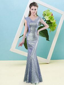 Lavender Cap Sleeves Sequins Floor Length Prom Party Dress