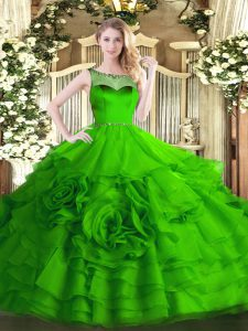 Amazing Organza Scoop Sleeveless Zipper Beading and Ruffled Layers Quinceanera Gowns in