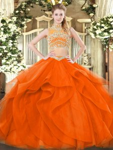 Modern Orange Red Two Pieces High-neck Sleeveless Tulle Floor Length Backless Beading and Ruffles Sweet 16 Dresses