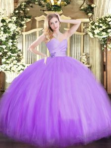 Sumptuous Lavender Lace Up 15 Quinceanera Dress Beading Sleeveless Floor Length