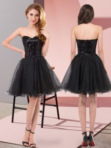 Most Popular Black Zipper Sweetheart Sequins Tulle Sleeveless