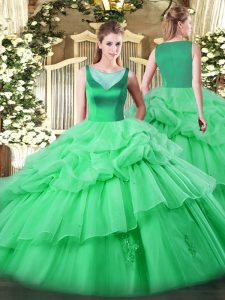 Latest Apple Green Sleeveless Beading and Appliques and Pick Ups Floor Length Quinceanera Gown