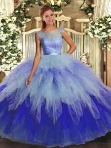 Organza Scoop Sleeveless Backless Ruffles Quince Ball Gowns in Multi-color