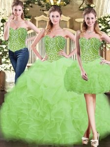 Beautiful Yellow Green Ball Gowns Beading and Ruffles Quinceanera Dresses Lace Up Organza Sleeveless Floor Length