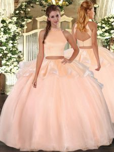 Suitable Floor Length Backless Quinceanera Gowns Peach for Military Ball and Sweet 16 and Quinceanera with Beading