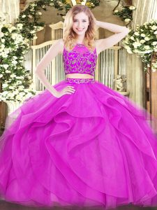 Gorgeous Fuchsia Sleeveless Tulle Zipper Quinceanera Dress for Military Ball and Sweet 16 and Quinceanera