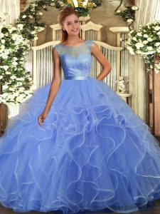 Lavender Backless Scoop Ruffles Quinceanera Dress Organza Sleeveless