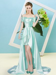 Superior Off The Shoulder Short Sleeves Lace Up Prom Party Dress Apple Green Elastic Woven Satin and Sequined