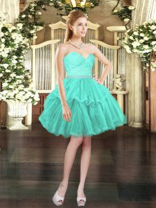 Sleeveless Mini Length Beading and Lace Lace Up Prom Gown with Aqua Blue