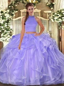 Enchanting Lavender Sleeveless Organza Side Zipper Sweet 16 Dresses for Military Ball and Sweet 16 and Quinceanera
